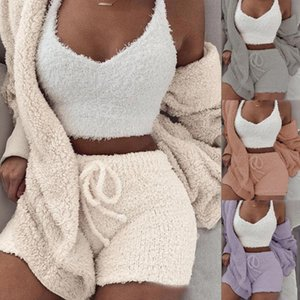 3Pcs Women Autumn Plush Sexy Crop Top Long Sleeve Coat Drawstring Shorts Suit Women's Hooded Sports Suits Sexy Sportswear Tracks