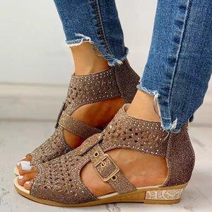 2021 NOUVEAUX Sandales Femmes Gladiator Zipper Summer Femmes Femmes Poisson Poissons Bouche Hollow Diamond Roma Chaussures Loisirs Bling Footwear Le68
