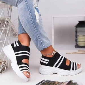 Summer New Women's Sandals Sandals Fashion Wedge Tacchi Scarpe Donna antiscivolo Confortevole Mesh Elastico Brand Brand Bottom Donne scarpe da donna 210306
