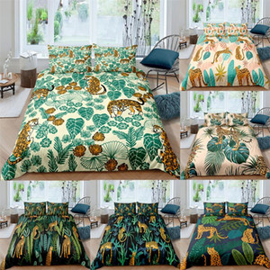 3pcs Leopard Pattern Bedding Set High Quality Duvet Cover Animal Green Leaves Kids Comforter Soft Twin Single Queen King Size
