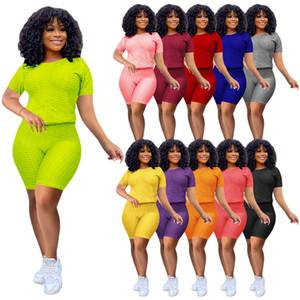 Yaz Giyim Kadınlar Seksi Eşofman T-shirt Şort 2 Parça Setleri 2XL Moda Düz Koşulcu Takım Katı Renk Casual Gömlek + Capris 4487