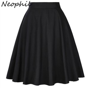 Neophil High Waist Pleated Midi Womens Skirts 2020 Summer Vintage Black School Cotton Short Saia Plissada Falda Mujer XXL S1649 J0118