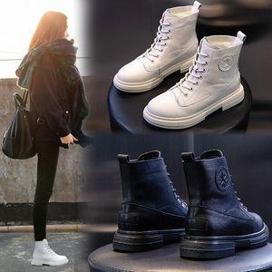 Yiluan Leatherl Motosiklet Botları Bayan Kış 2020 Yeni Platformu Rahat Botlar Beyaz Öğrenciler Lace Up Boot Kadın Sıcak K1E0 #