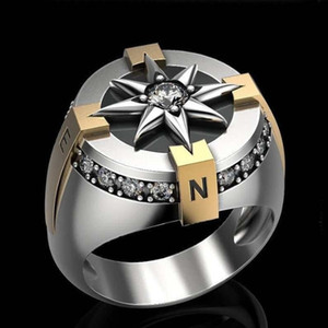 Classic Mens Silver Color Cross Stainless Steel Ring Two Color Compass Punk Rock Motorcycle Biker Rings for Men Boho Jewelry