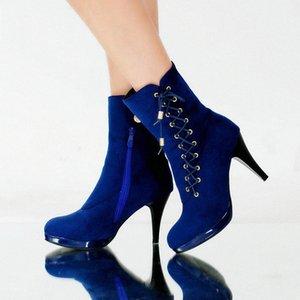Botas de tacón alto de Epher Lace Up Boots de cuero con cremallera Bloque de talón Talón A1ZY #