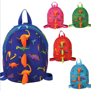 Children backpacks cartoon dinosaur printed baby girl kindergarten polyester schoolbag cute kid green blue zipper backpack BWD4945
