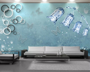 3d Wall Paper Classic Blue Floral Butterfly 3d Wallpaper Beautiful and Elegant Interior Decoration Wall Wallpaper