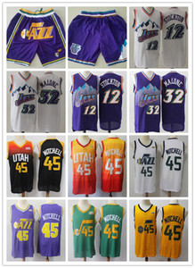 HerrenUtahJazzThopfback Jersey John 12 Stockton Karl 32 Malone Donovan 45 Mitchell Basketball Trikots Basketball Shorts lila