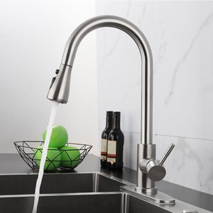 Hot Kitchen Sink bathroom faucets Stainless Steel Pull-out Water Basin Tap Hot cold mixer 360 Swivel Spout Deck Mount