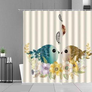 만화 귀여운 새 샤워 커튼 컬러 깃털 꽃 심장 플라밍고 동물 어린이 룸 장식 방수 욕실 커튼 세트