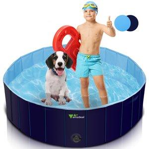 Piscina para mascotas para perros plegables amzdeal 120 * 30 cm, 100% PVC, antideslizante, duradero bañera plegable portátil para perros gatos y niños al aire libre, herramienta de baño, azul