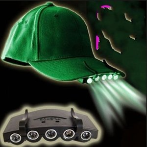 5 Leds Cap Hat Light Clip-On 5 LED Fishing Camping Head Light HeadLamp Cap with 2* CR2032 cell Batteries 248 W2