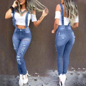 Fashion Washed Denim Bib Bib Jeans Jeans Tuta da jeans in vita alta Jeans Femme Denim Suit Denim Pagliaccetti strappati per le donne VAQUEROS