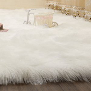 SIMANFEI Haarige Teppiche Neue Schaffell-Plain-Pelz-Haut Flaumige Schlafzimmer Faux-Matten Waschbare künstliche Textilbereich Square Teppiche 708 K2
