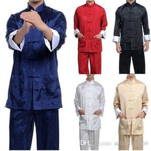 Spedizione gratuita Burgundy Blu Blue Blue Chinese Men's Satin / Silk Kung Fu Suit Pajamas S-XXXL