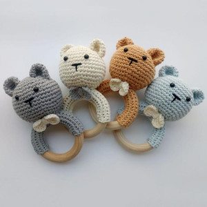 Infant Teether Molars Training Toys Colored Crochet Bear Molar Bracelet Soothers Wood Ring Teeth Newborn Teething Chewing Exercise Toy YL417