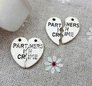 200Sets lot Antique Sliver Spolicing love Charms Partners in Crime Letters Heart Pendant Making Fit Handmade Accessories