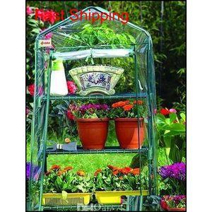 Garden Greenhouses 4 étagères Green House Tube de fer pliable avec couvercle en tissu en PE Greidhouse Portable Mini ou QYLLRL Toys20102010