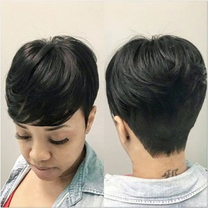 Short Pixie Cut Wigs For Black Women Remy Malysian Human Hair Full Machine Made None lace Bob Wig With Bang