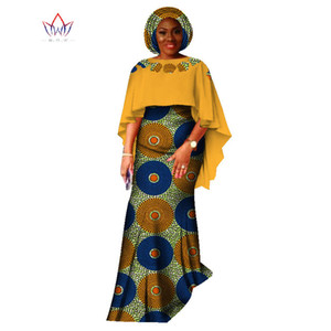 2021 New Fashion African Suit For Donne Dashiki Crop Gonna e Top African Abbigliamento Bazin HeadTie Plus Size Gonna Set WY1618
