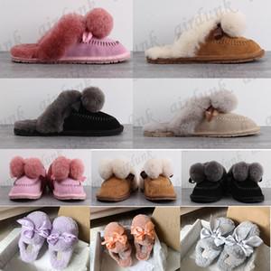 [Con scatola] 2021 Donne Pantofole Furry Pantofole Fluff Ball Top Slides Sandalo Australia Fuzzy Soft House Ladies Bow Fur Fur Bruffy Sandali