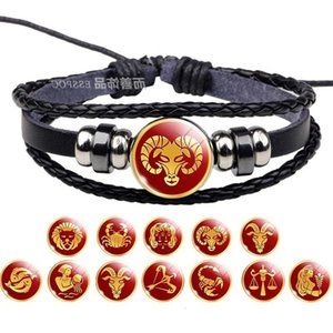 Zodiac jewelry, crystal bead CLASP BRACELET, black woven leather bracelet with punk constellation for men and women