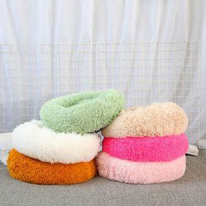 50cm Long Plush Super Soft Pet Bed Kennel Dog Round Cat Winter Warm Sleeping Bag Puppy Cushion Mat Portable Cat Supplies