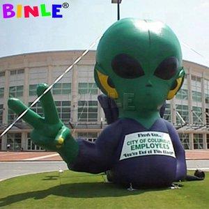 Открытый мероприятие гигантский надувной иностранец со светодиодными фонарями, на заказ UFO мультфильм воздушный шар для рекламы