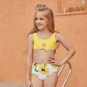 CVSEA Due pezzi Bikini Bambini Stampa Yellow Stampa Costumi da bagno carino per 5 ~ 10 anni Teens Girls Summer Beach Beach Suits