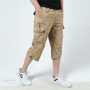 Грузовые брюки мужские летние брюки мода повседневные многочанжевые брюки плюс размер половины брюки молодежные обрезанные брюки