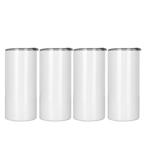 15oz Sublimartion Skinny White Straight Tumblers Stainless Steel Tumbler thermal transfer Mug Sublimation Blank LLA390