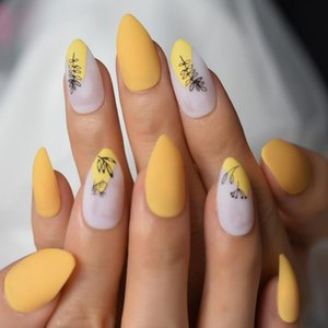 False Nails 28pcs Mango Yellow Fake Short Press On Matte Medium Pre Designs Nude Nail Art Display Set Full Cover Tips