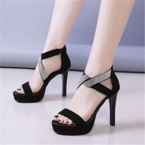 Nueva Bling Crystal Sexy Mujeres 11cm Sandalias de talón Abre Toe Rhinestone Straps Cross High Heel Sandals Vestido de novia Zapatos Tamaño 34 40 Silve W1GD #
