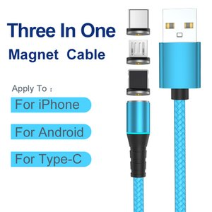 Hot-sale 3 in 1 Magnetic Cable Charger Line 2.1A Max Nylon Fast Charging Cable 50pcs package