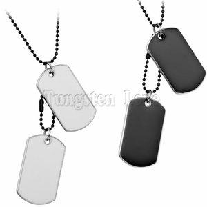 الجيش التكتيكي نمط 2 الكلب العلامات رجل قلادة قلادة للرجال مجوهرات الصلبة الأبيض الأسود collares hombres 70cm سلسلة طويلة