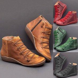 Lasperal Kış Ayakkabı Kadın 2019 Rahat Rahat Düz Çizmeler Femme Deri Ayakkabı Kış Sonbahar Ayak Bileği Zip Bayan Çizmeler Siyah Ankl A4B8 #