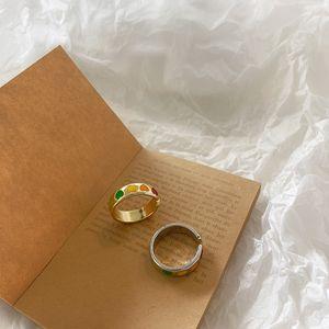 Vintage Boho colorido esmalte amor corazón anillos abiertos lindo simple oro plata color anillo anillo de dedo ajustable para las mujeres joyería punk