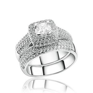 Vecalon 188pcs Topaz Simulato Diamond Diamante CZ 14KT Oro bianco Riempito 3-in-1 Anello per matrimoni di fidanzamento per le donne SZ 5-11 40 U2