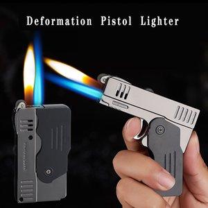 창의력 이중화 변형 권총 부탄 토치 라이터 무료 제트 방풍 담배 부싯돌 연삭 휠 라이터 가스 없음