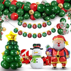 Christmas Balloons Party Banners Supplies Merry Xmas Arch Garland DIY Set Red Candy Foil Ballons New Year Decorations Gifts