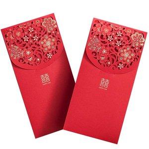 10pcs Sobres rojos chinos Sobres de dinero afortunado Boda paquete rojo para la boda de Año Nuevo (7x3.4 en)