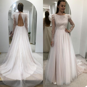 New Sparkly A Line Wedding Dresses Jewel Neck Long Sleeve Sequins Appliques Country Bridal Gowns Sexy Backless Wedding Robe