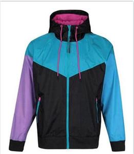 2021 hot sale Outdoor Hooded Mens Jackets Sports Windbreaker Patchwork Coats Print Zipper Hoodies Running Outwear size S-2XL NE6219