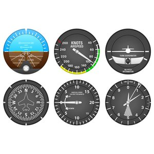 Set Of 6 Aircraft Instrument Coasters Modern Flight Instruments Cocktail Coaster Set Navigator Home Bar Decor Aviator Pilot Gift 210316