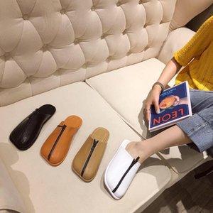 Тапочки женские Обувь Чехол Носок Женщины Летние слайды 2021 Квадратные Плоские Скандалы PU Заказать Ткань Рима Основная резина Zipper F