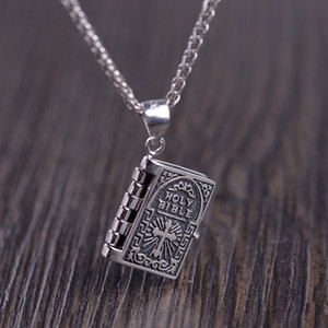 Buyee 100% 925 Sterling Silver Bible Pendant Women Exquisitely Carved Bible Biblical Book Necklace for Women Christian Jewelry Q0127