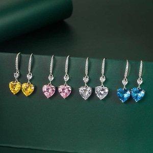 4 CT Love Подвеска очарование ушной крючок женские сердца серьги желтый алмаз розовый бриллиант