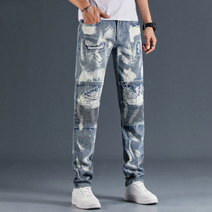 Mens designer Stylist Jeans luxury Mens Distressed Zipper Jeans fashion male Slim Motorcycle joggers Letter Printed mens designer jeans