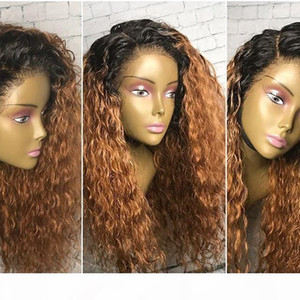 Bythair Glueless Full Lace Ombre Wigs Natural Wavy Lace Front Wigs Brazilian Hair Ombre Human Hair Wigs With Baby Hairs Dark Roots