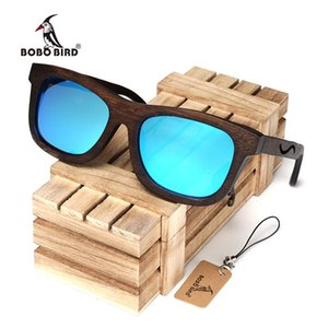 BOBO BIRD Wooden Sunglasses Bamboo Frame Polarized Blue Lens Eye Glasses For Men Sun Glasses Women Eyewear Wood Box Gafas de Sol
